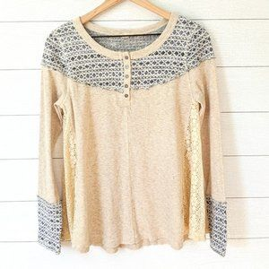 Hem & Thread Mixed Material Lace Henley M